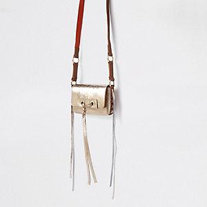Mini sac en cuir doré noué devant