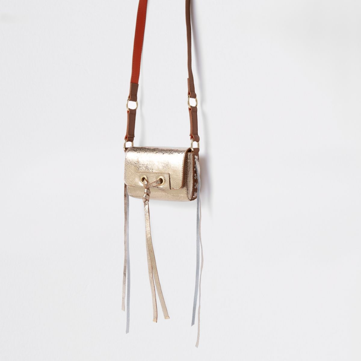 Gold leather knot front mini bag