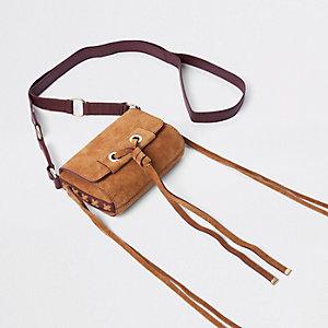 Mini sac bandoulière en cuir beige avec nœud