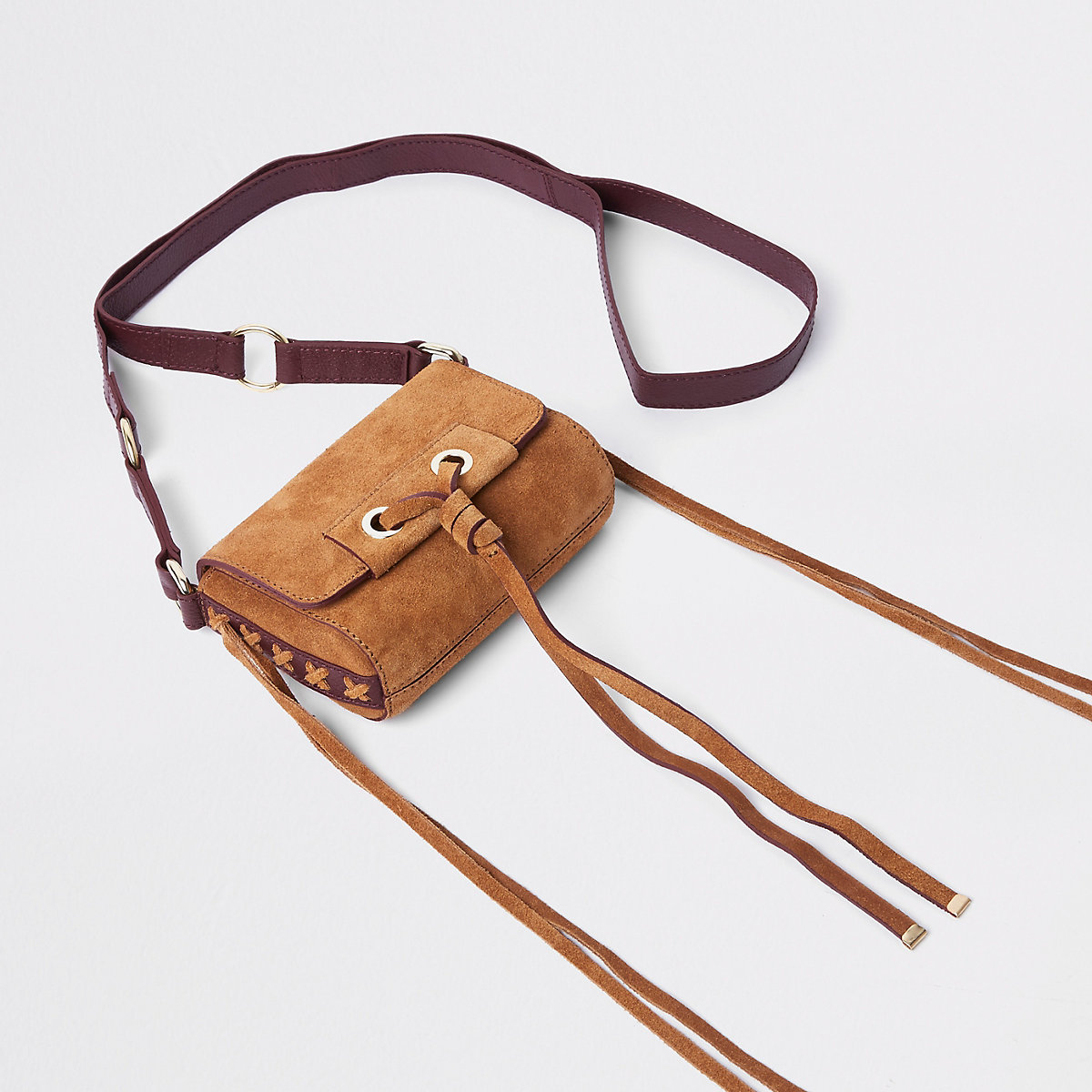 Beige mini leather knot cross body bag