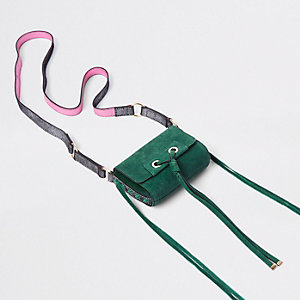 Green mini leather knot cross body bag