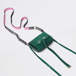 Mini sac bandoulière en cuir vert avec nœud