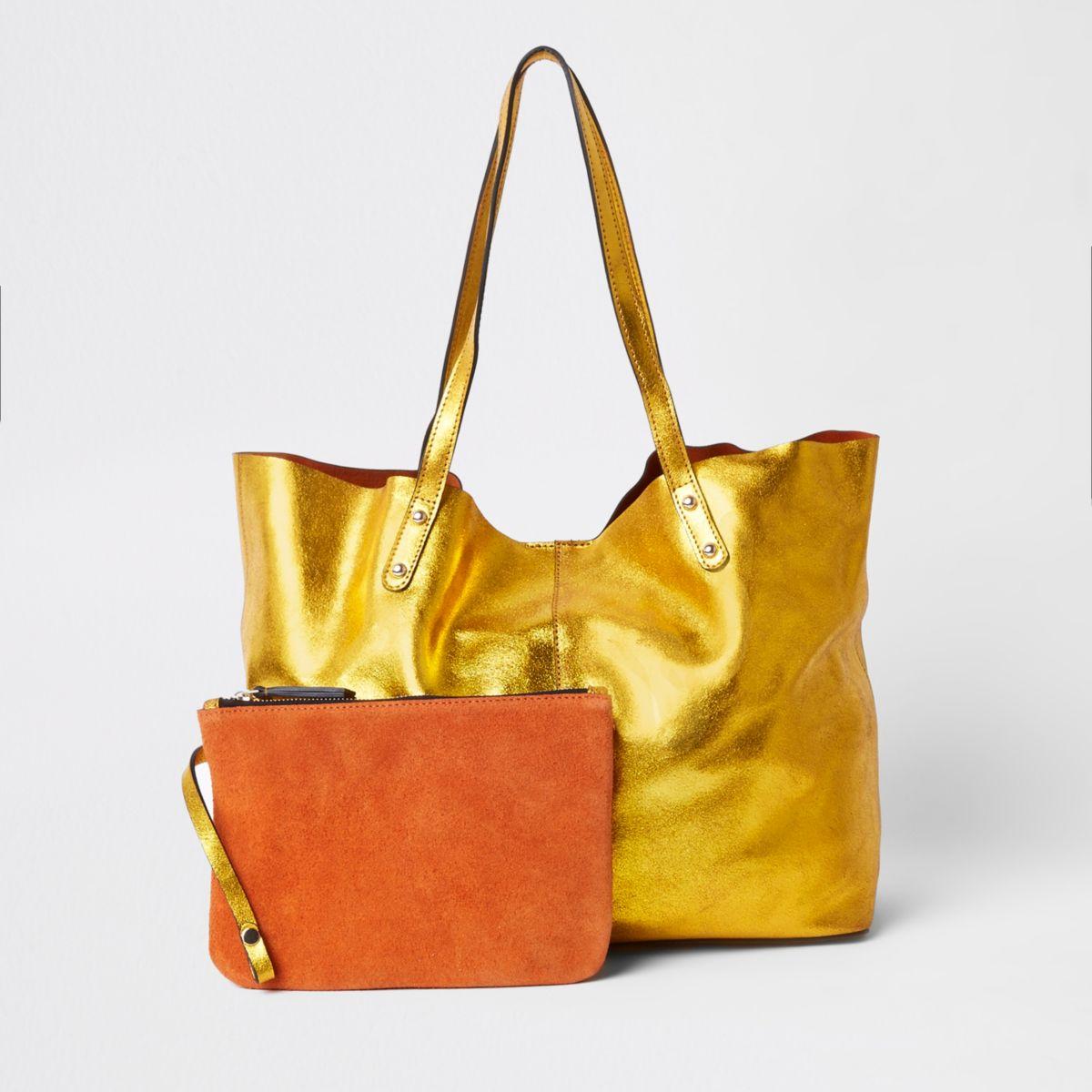 Gold leather metallic shopper tote bag