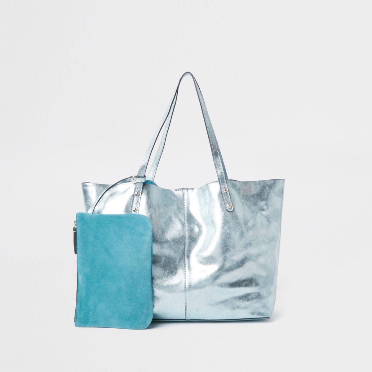 Light blue leather metallic shopper tote bag
