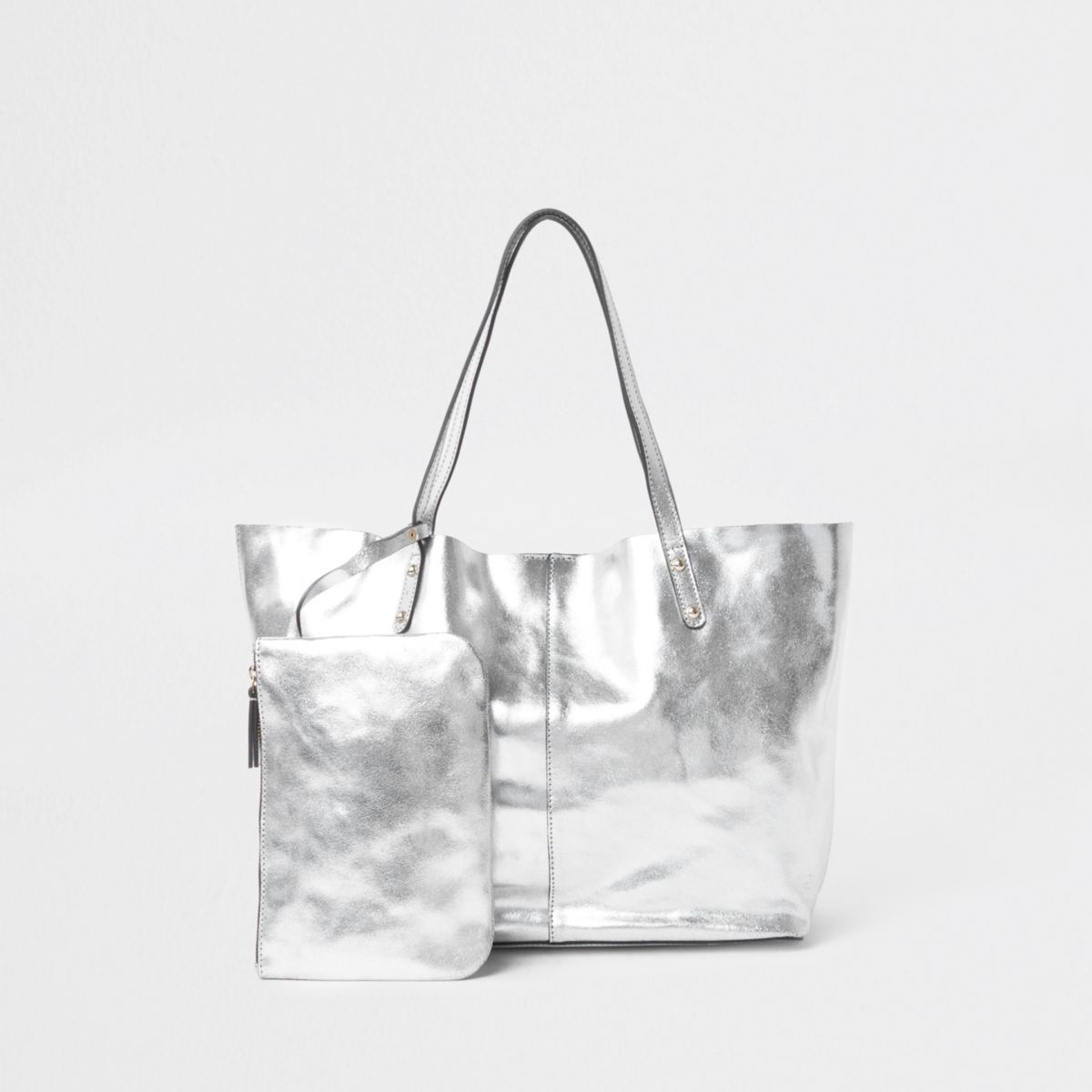 Silver leather metallic shopper tote bag