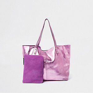 Tote Bag aus Leder in Pink-Metallic