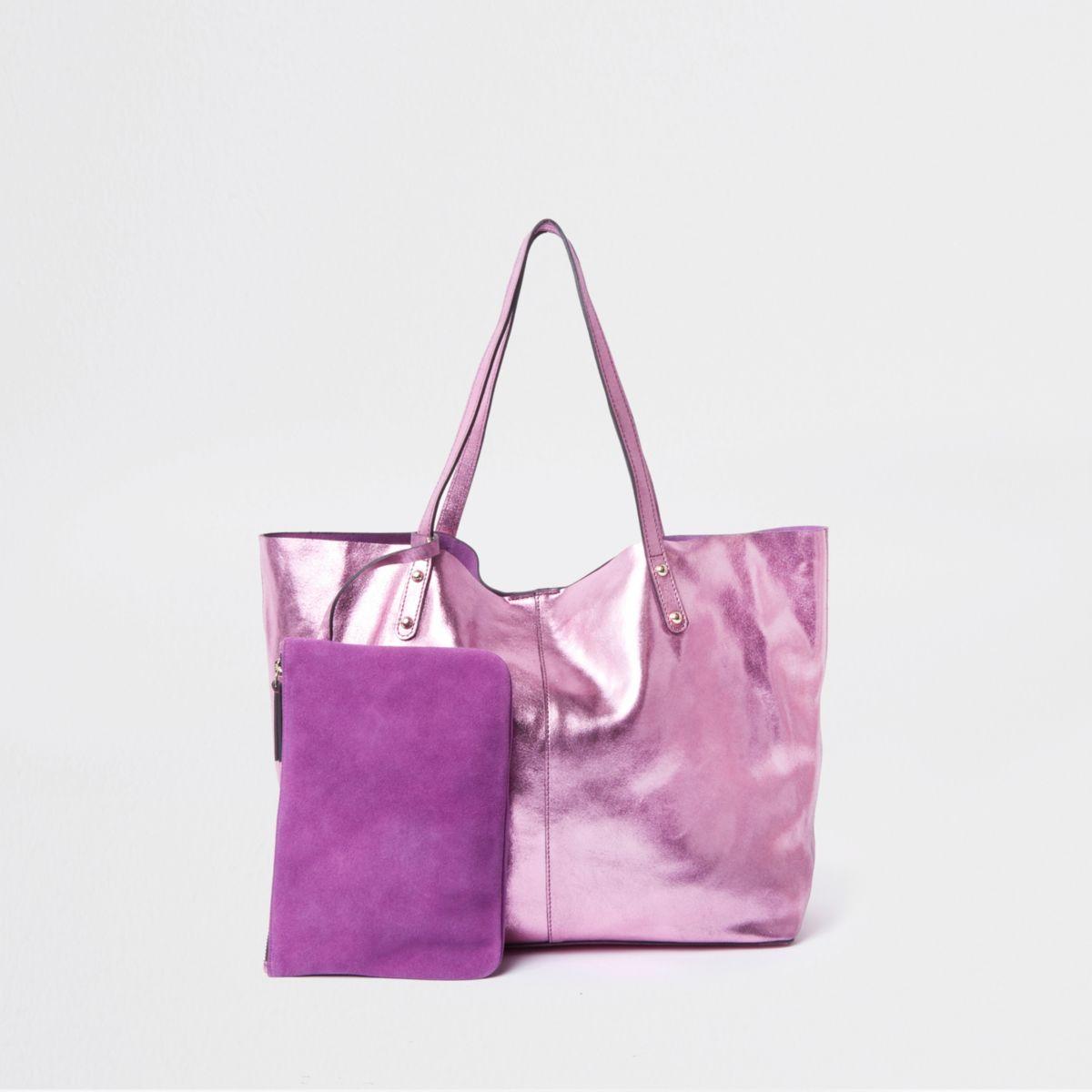 Pink leather metallic shopper tote bag