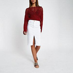 Jupe crayon en jean blanche à surpiqûres contrastantes