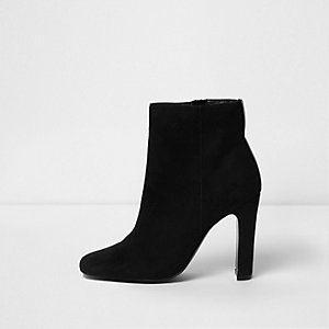 Black square toe wide fit ankle boots