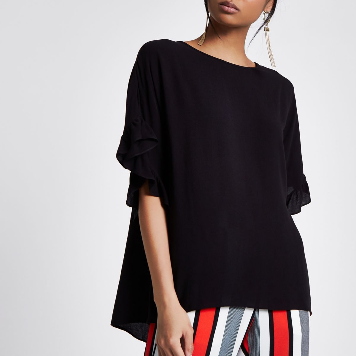 Black Loose Frill Sleeve Top by River Island