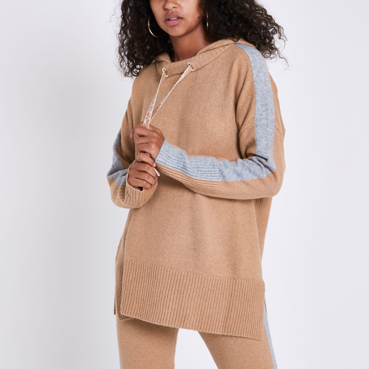 Light brown contrast side knitted hoodie