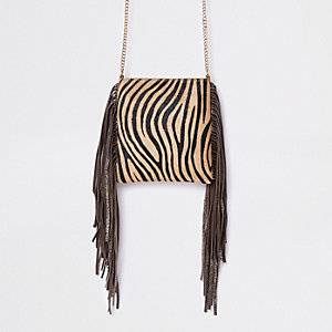 Beige leather zebra print mini crossbody bag