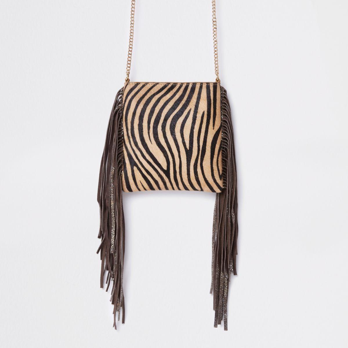 Beige leather zebra print mini crossbody bag