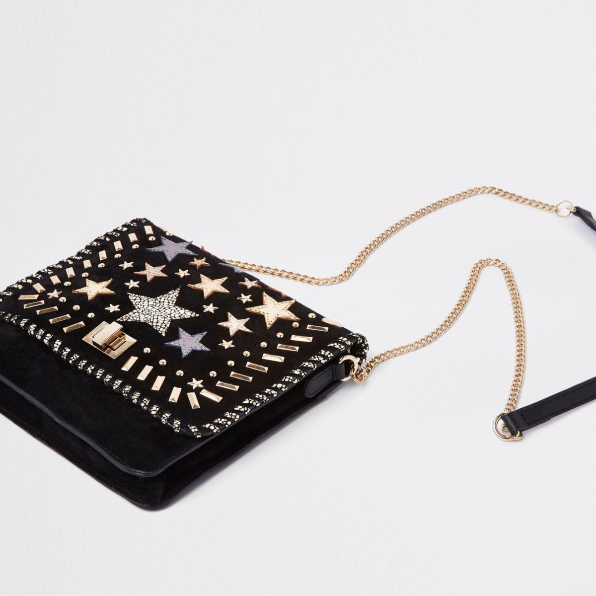 Black leather star studded cross body bag