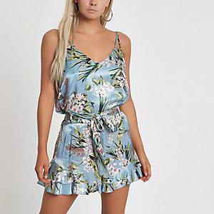 Petite blue floral print frill hem shorts