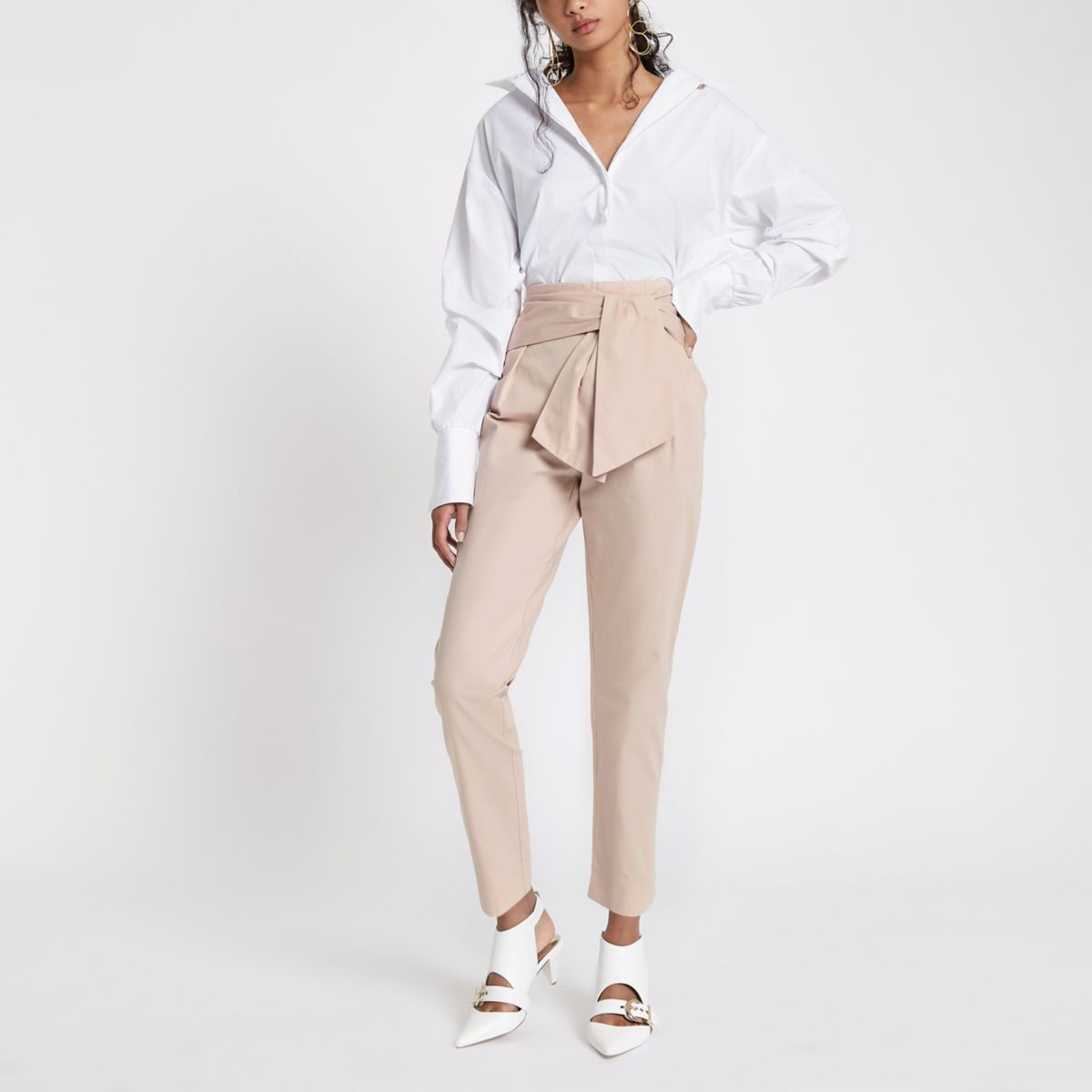 Pink tie front peg trousers