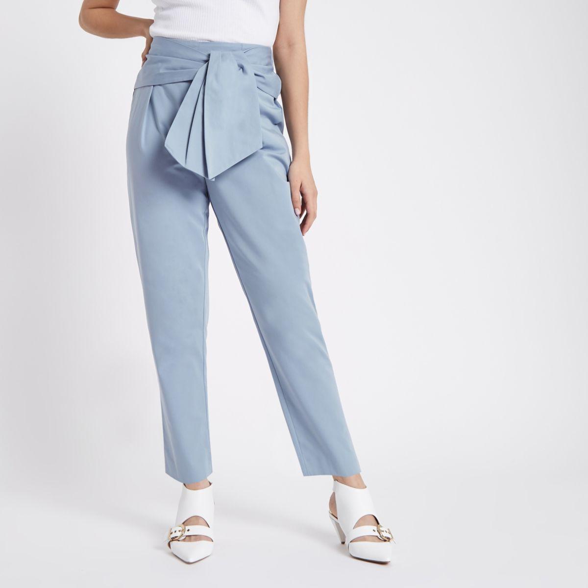 Blue tie front peg pants