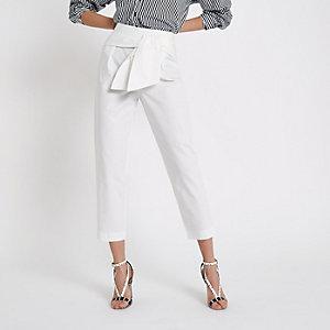 White tie front peg pants