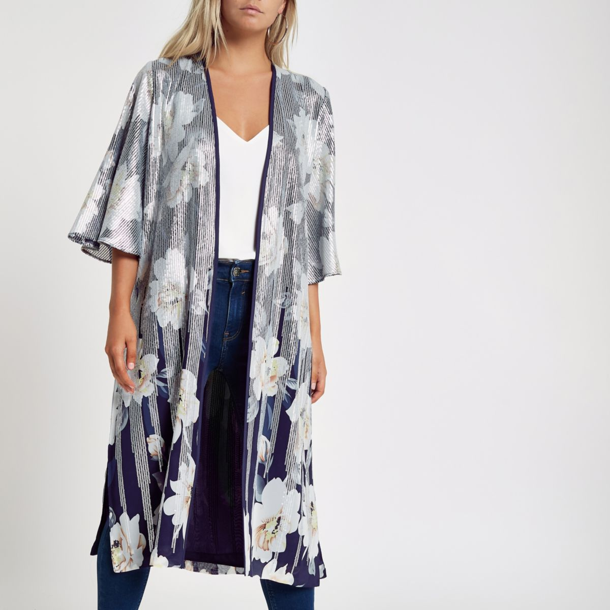 Petite navy floral sequin duster coat