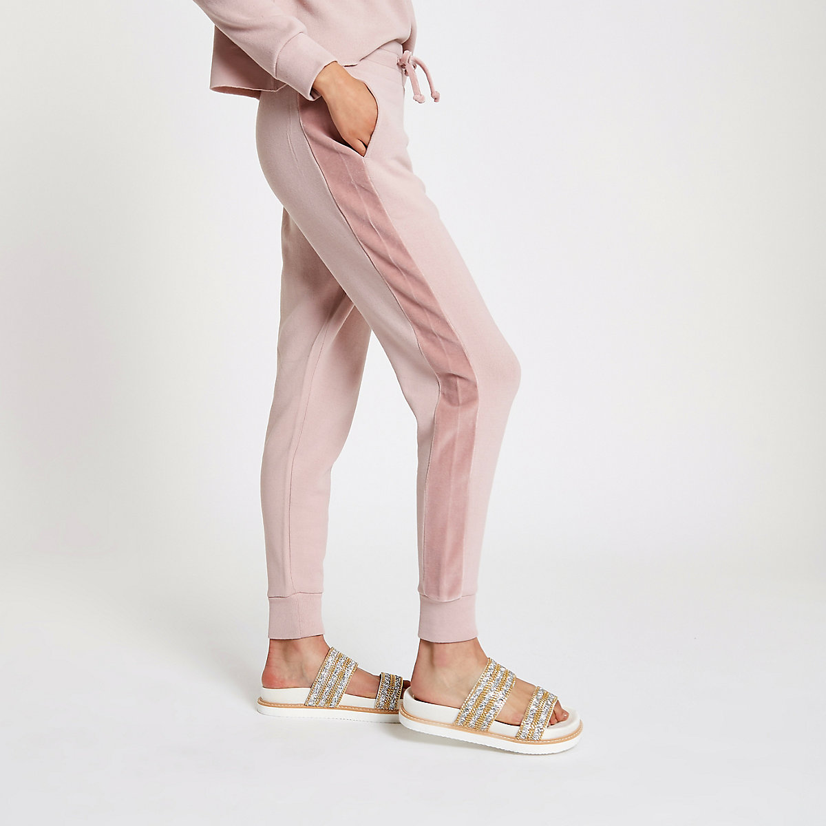 Light pink loose fit joggers