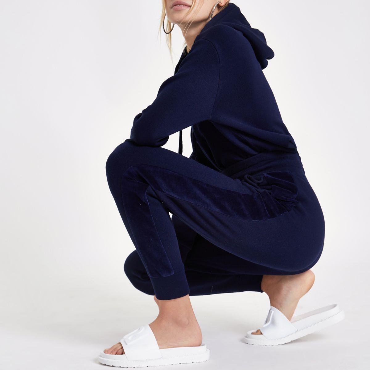 Marineblauwe ruimvallende joggingbroek