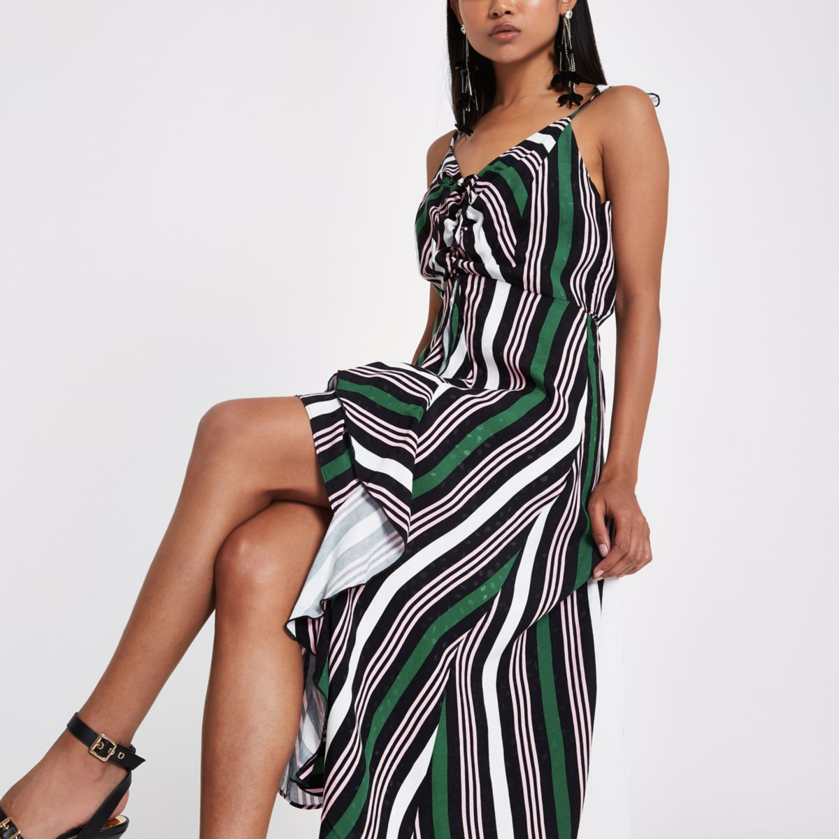 Petite green stripe ruffle ruched midi dress