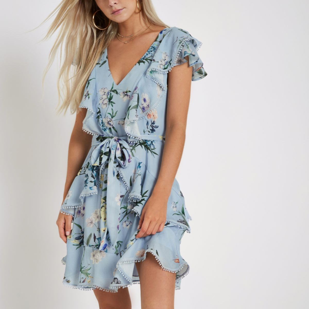 Petite light blue floral frill wrap tea dress