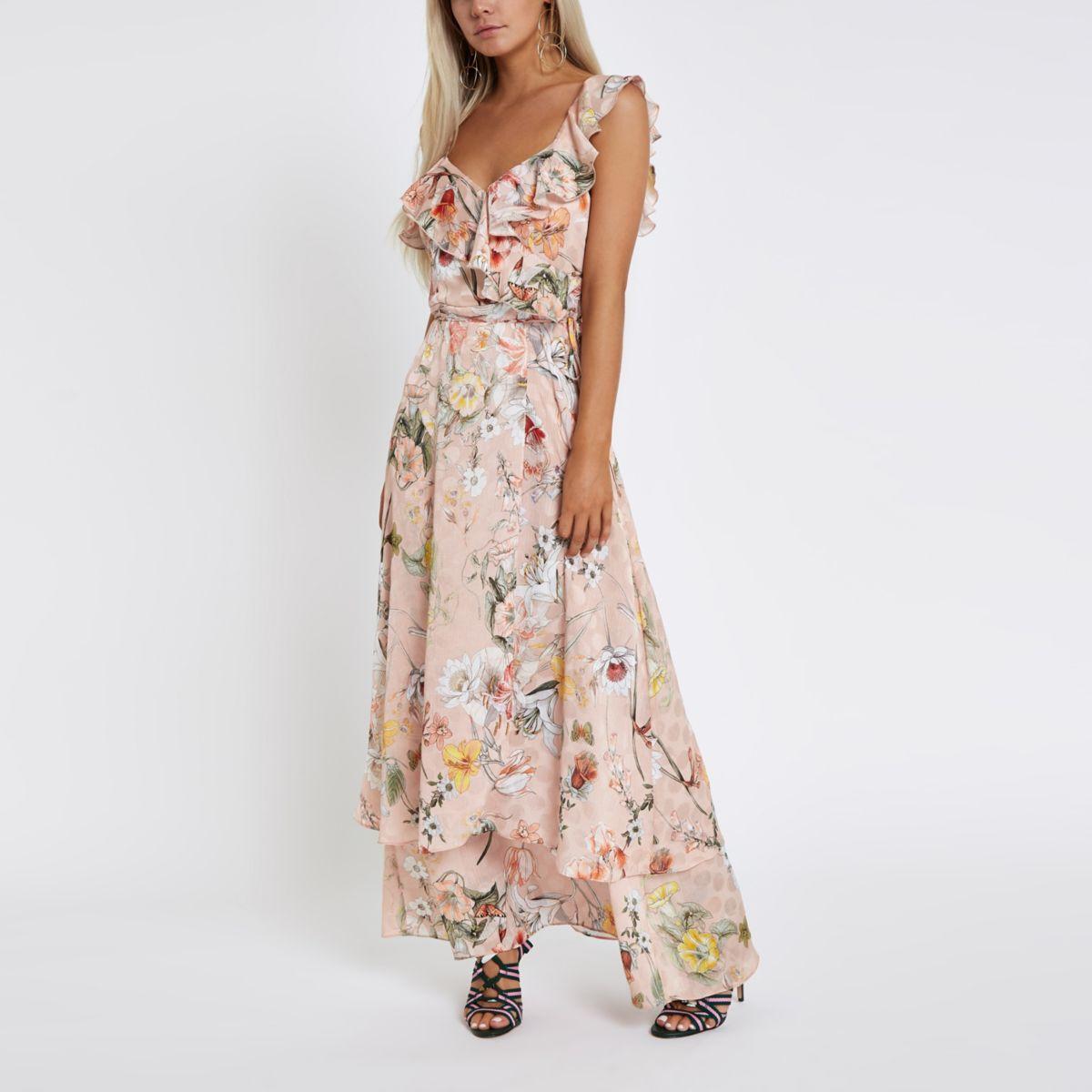 Petite pink floral frill wrap maxi dress