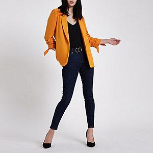 Orange rouche sleeve blazer