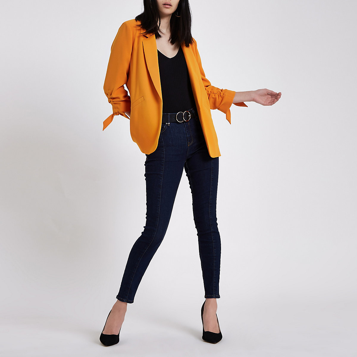 Orange rouche sleeve blazer