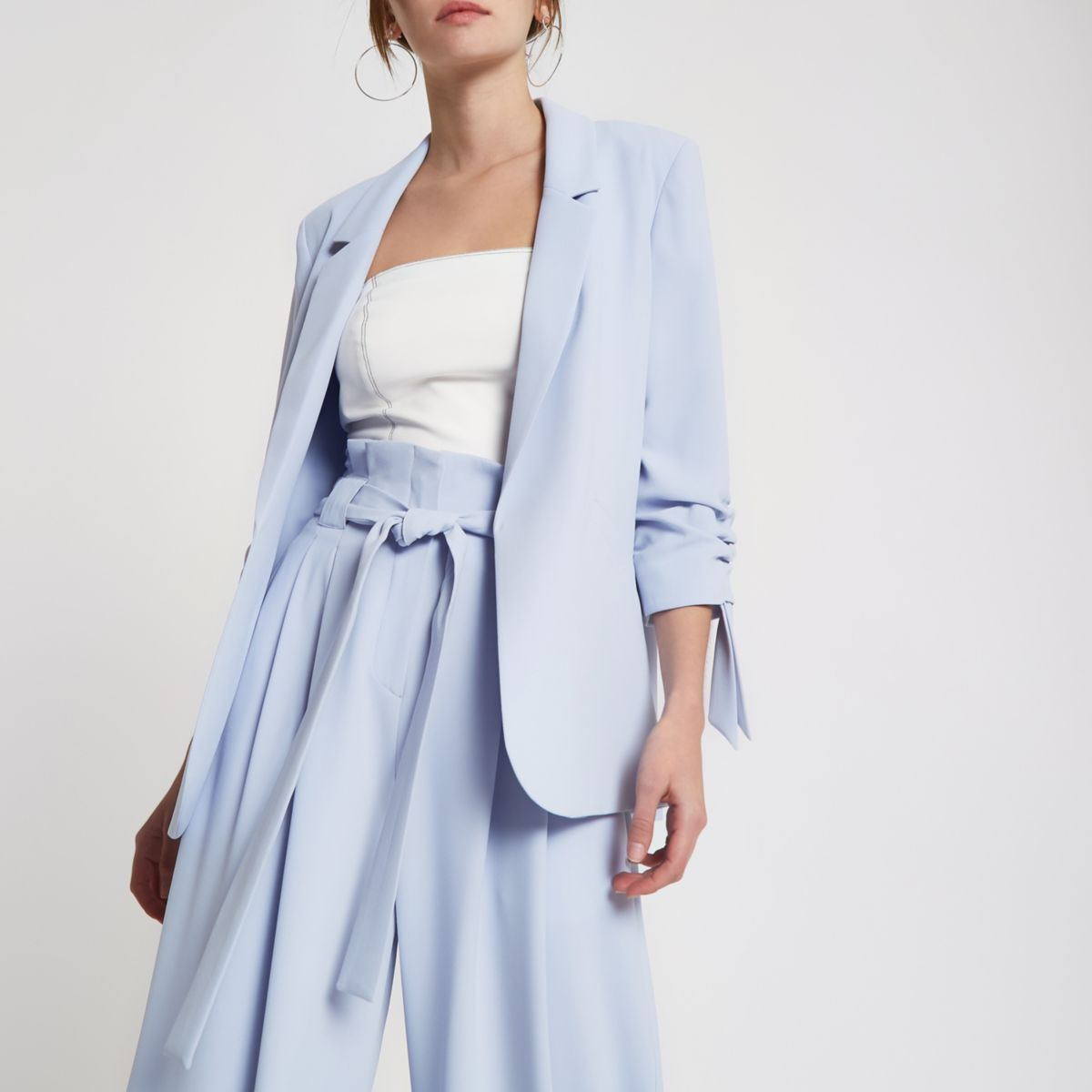 Light blue ruched sleeve blazer