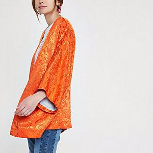 Orange jacquard kimono