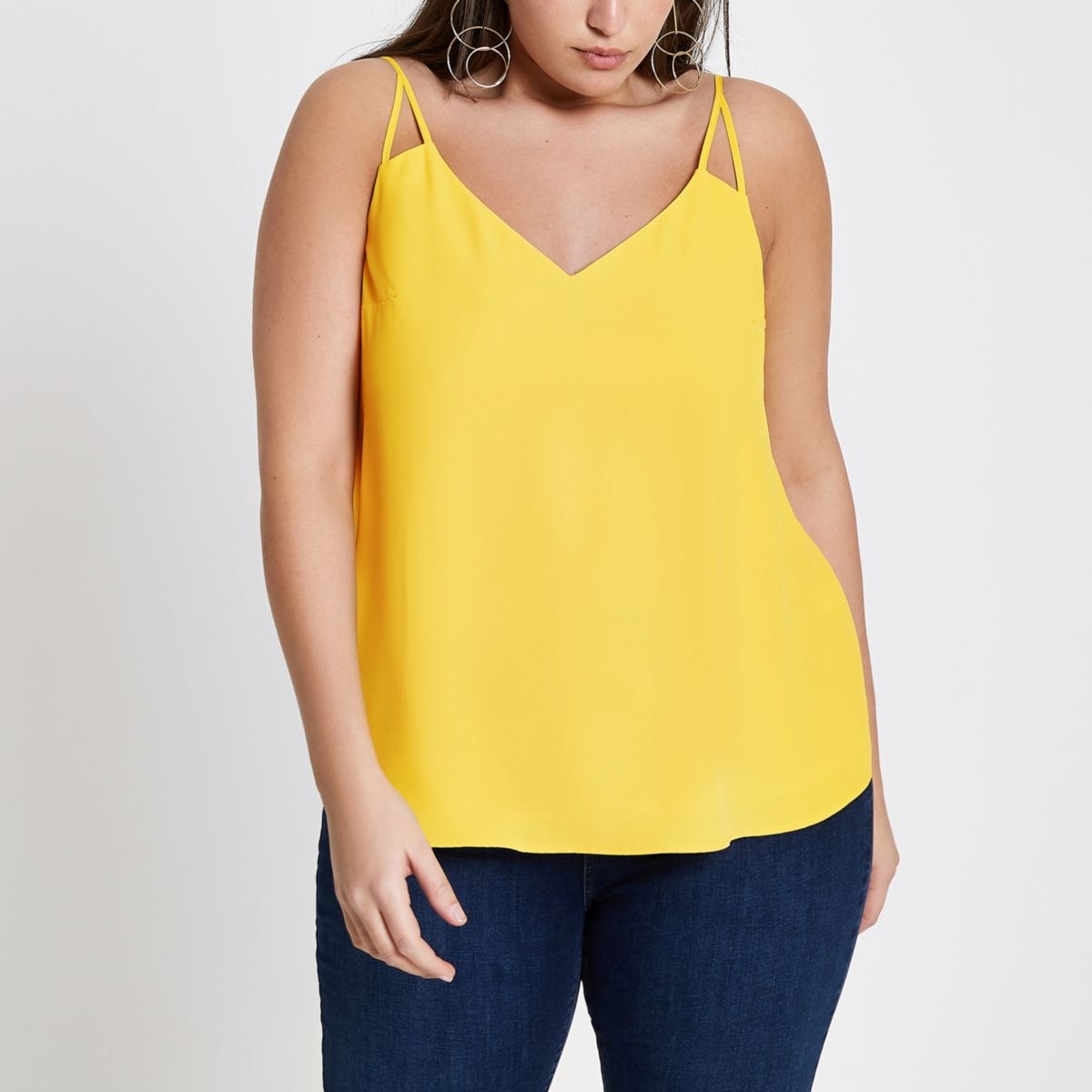 Plus yellow split strap cami top