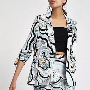 Blue swirly print rouche sleeve blazer