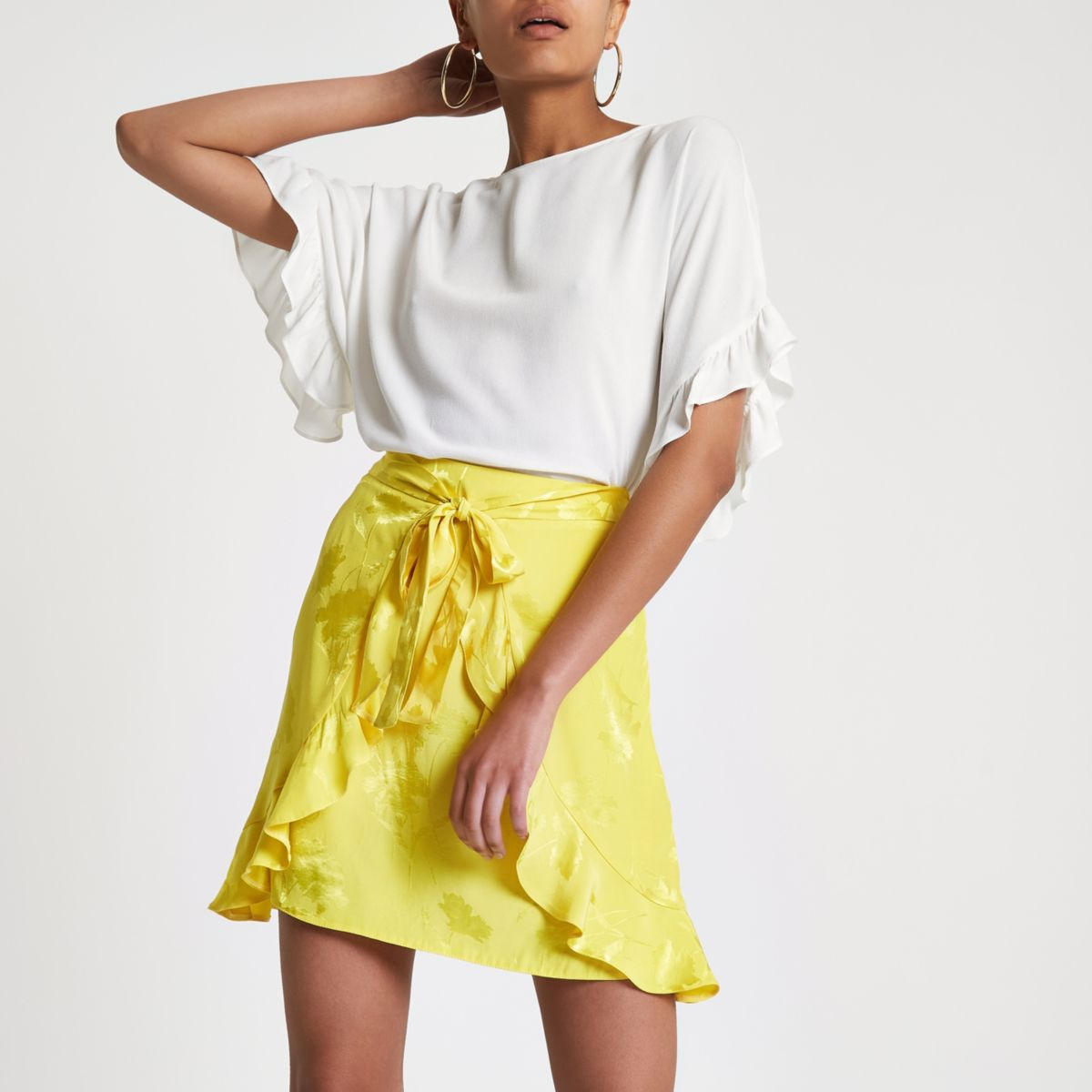 Yellow wrap tie front jacquard mini skirt