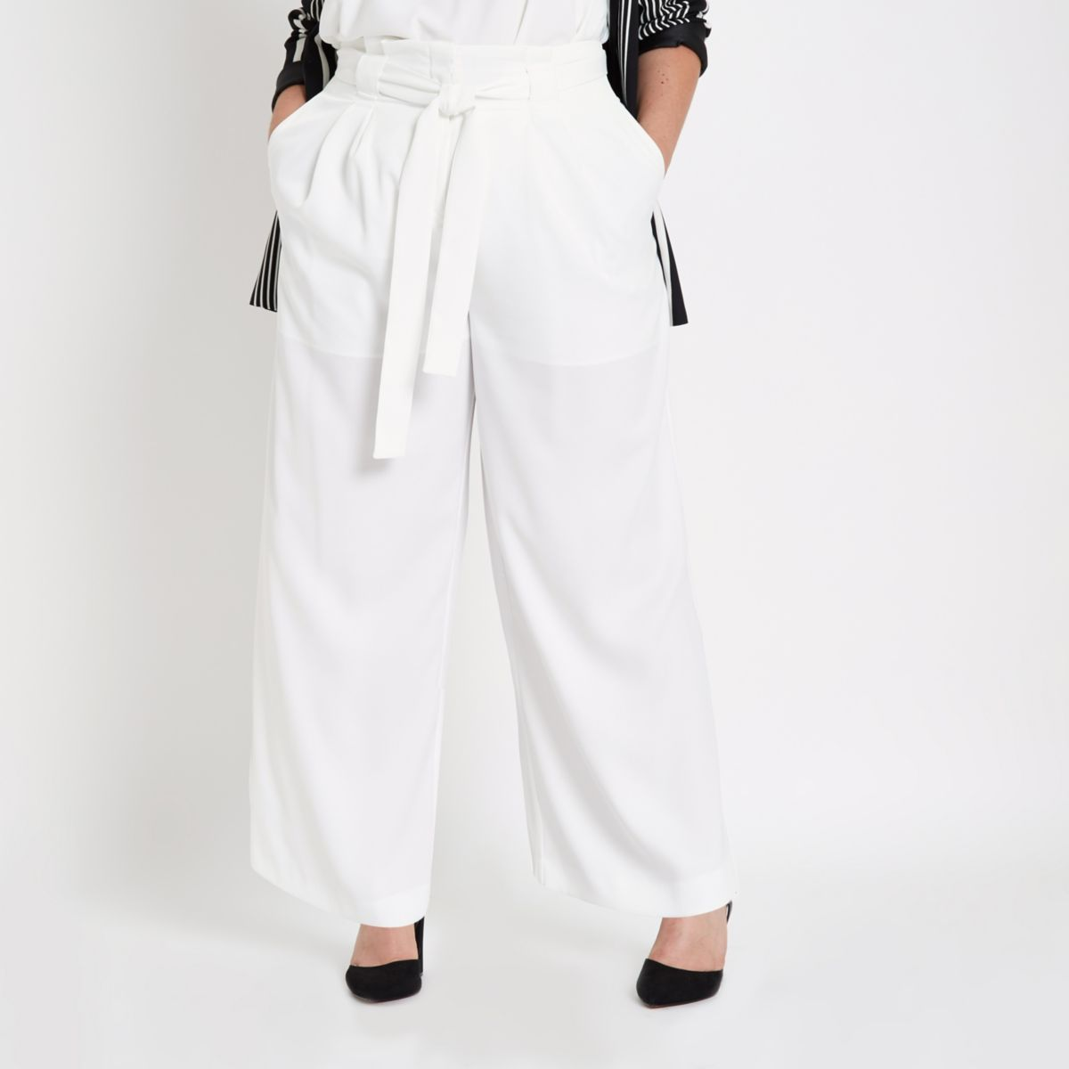 Plus white paperbag wide leg trousers