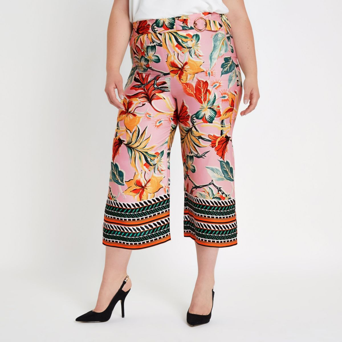 Plus pink floral mixed print pants