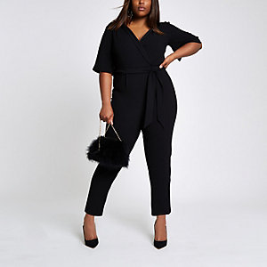 Plus black  wrap tie waist jumpsuit