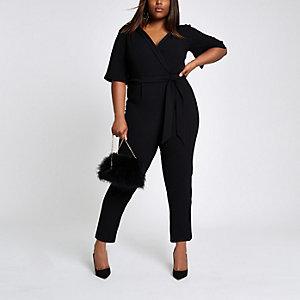 Plus black  wrap tie waist jumpsuit