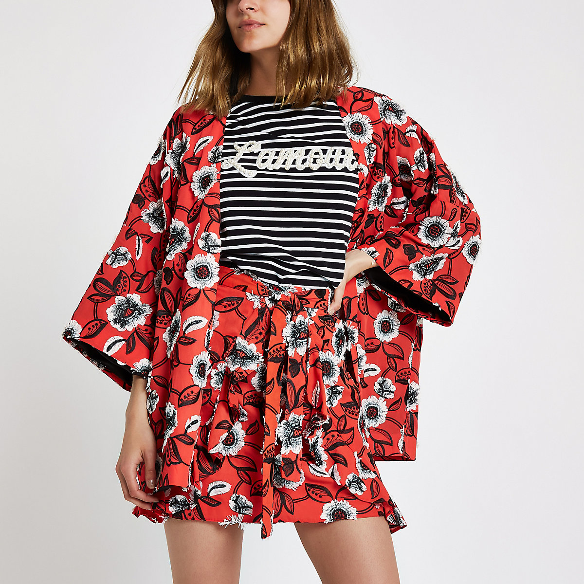 Red floral frill wrap front mini skirt
