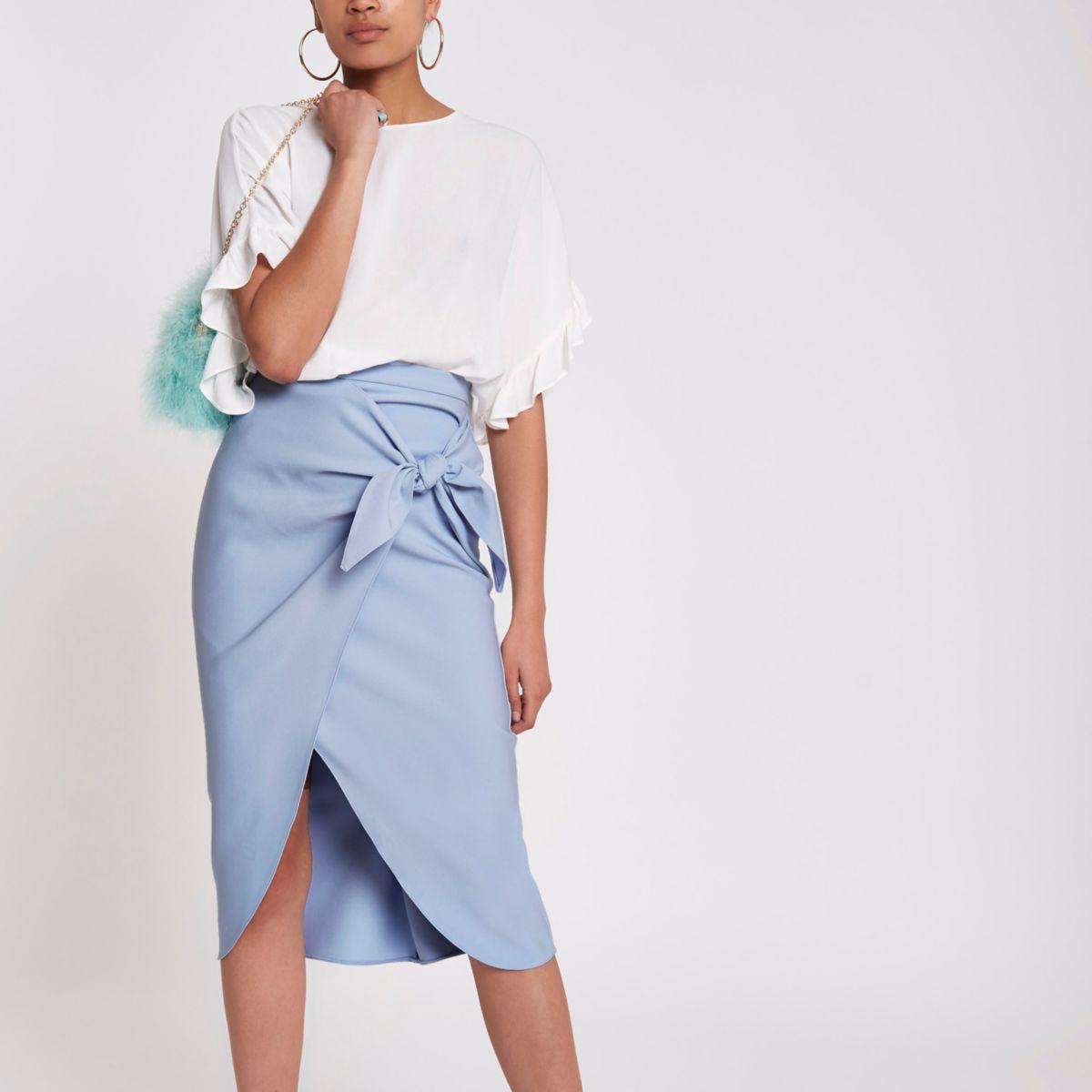 Blue twist front pencil skirt
