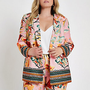 Plus pink floral mixed print blazer
