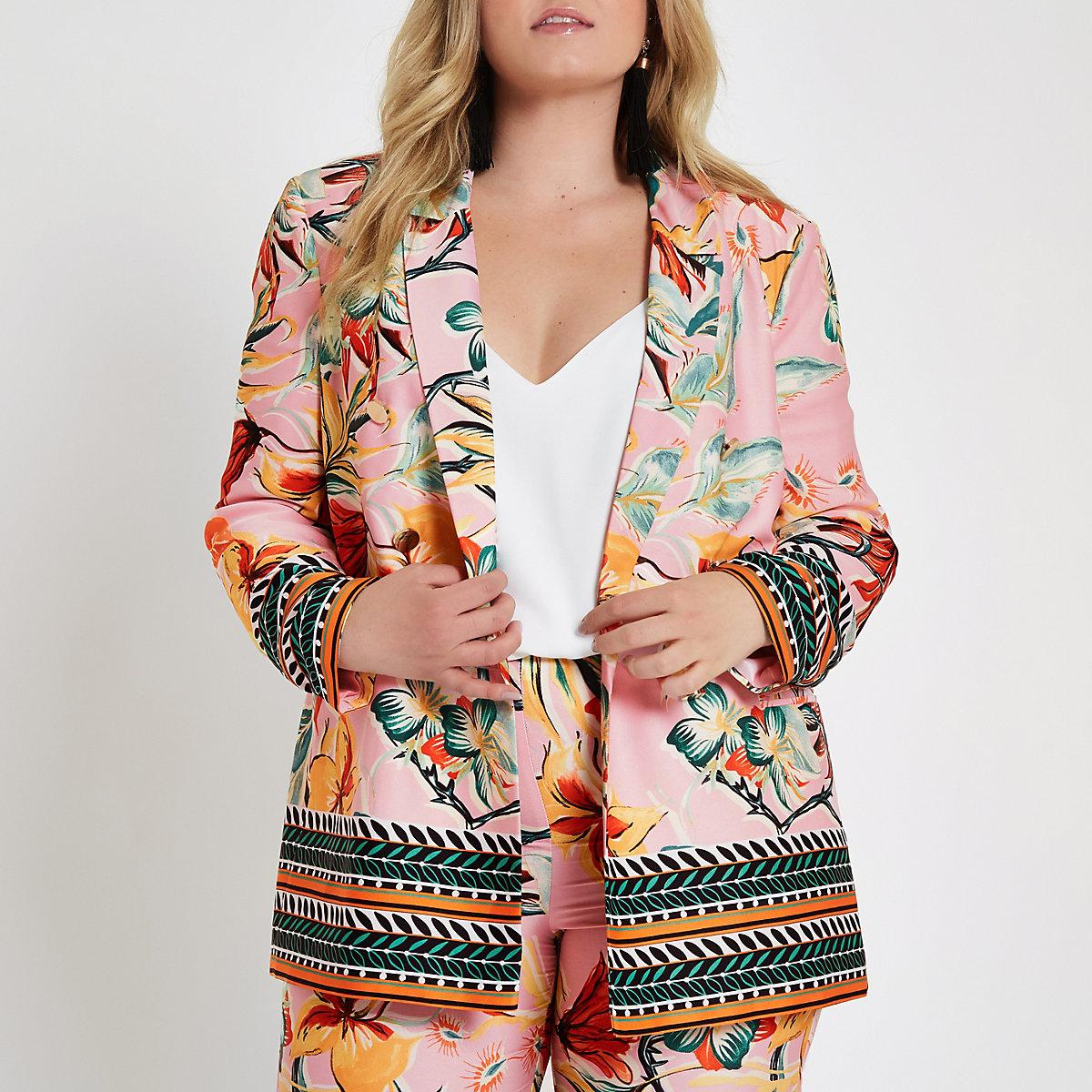 Plus pink floral mixed print blazer