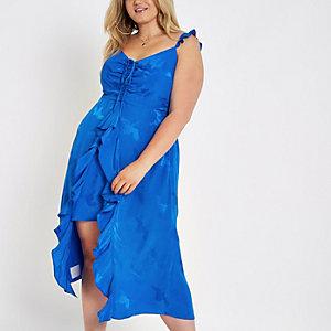Plus blue jacquard frill slip dress