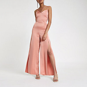 Light pink strappy cami split leg jumpsuit