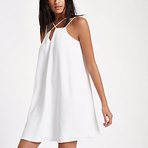 White cross strap slip dress