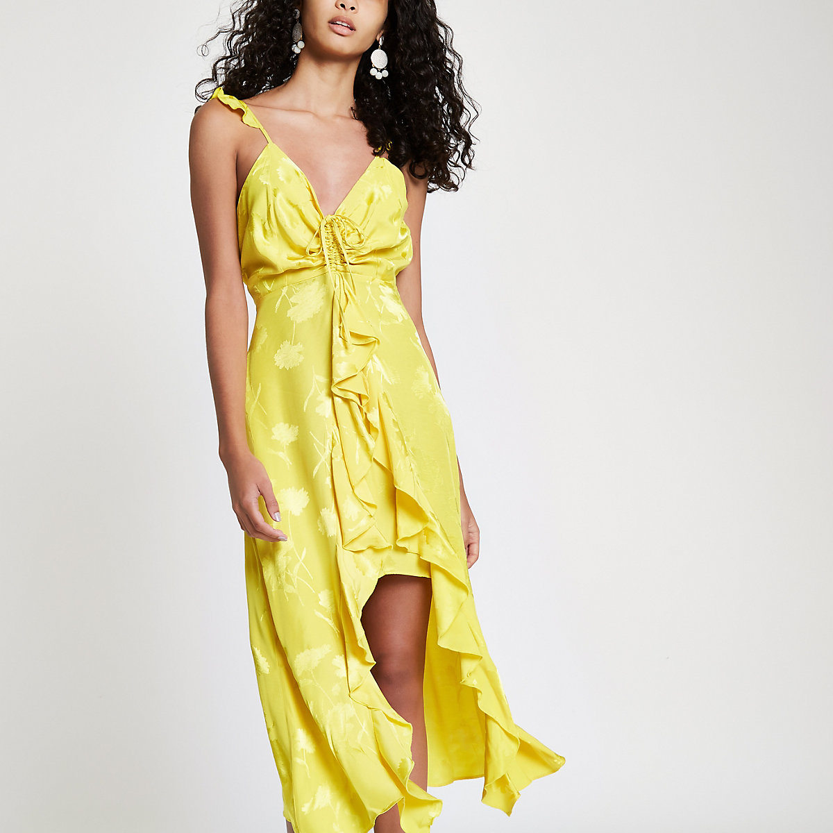 Yellow frill slip cami midi dress