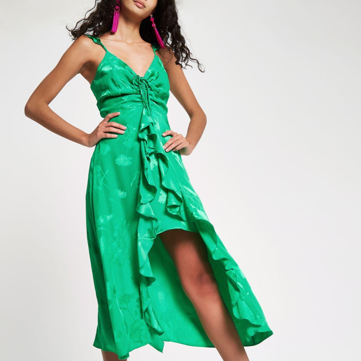 Bright green jacquard frill slip dress