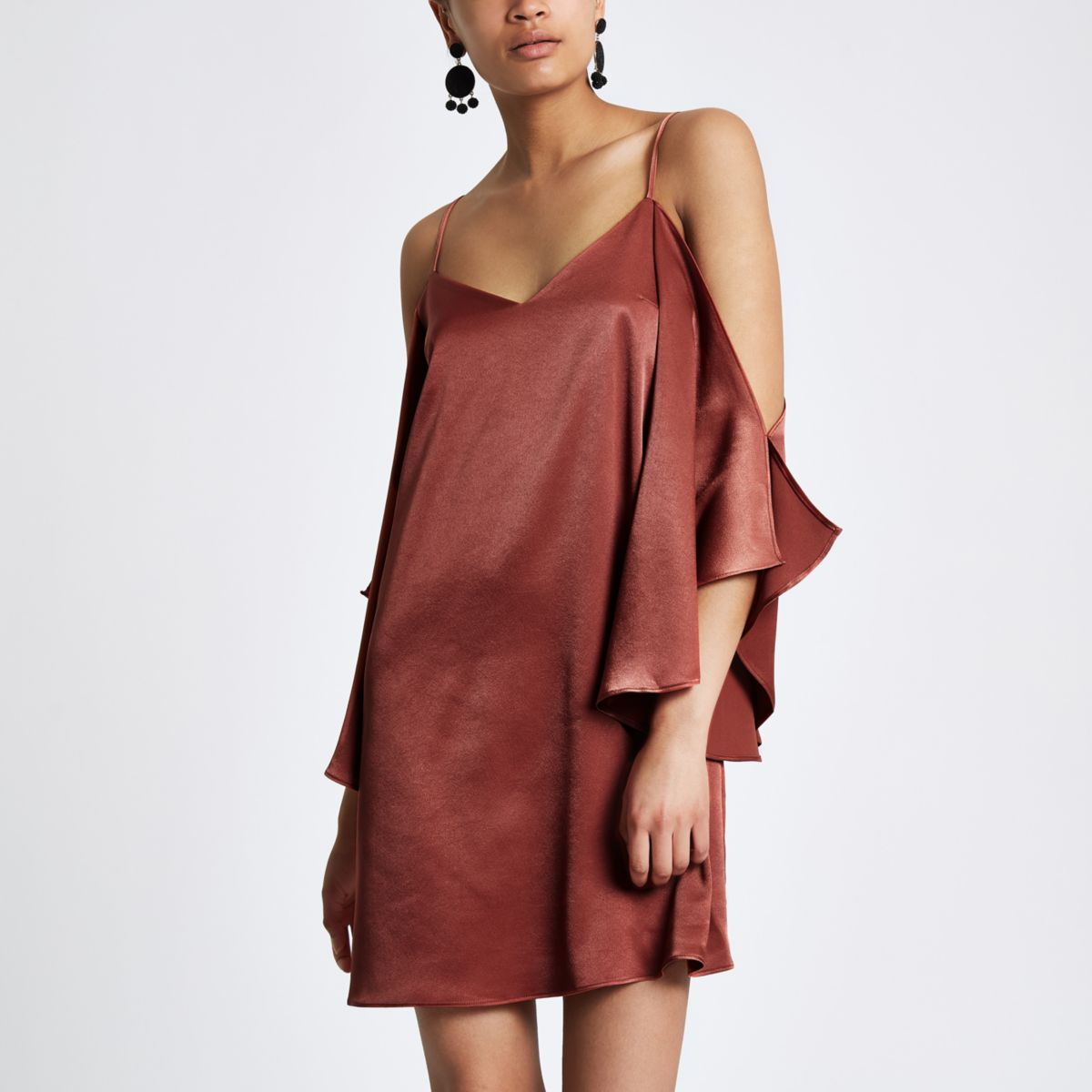 Brown cold shoulder cami swing dress