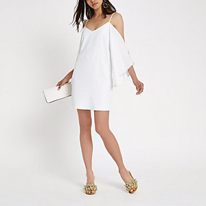 Cream cami cold shoulder swing dress